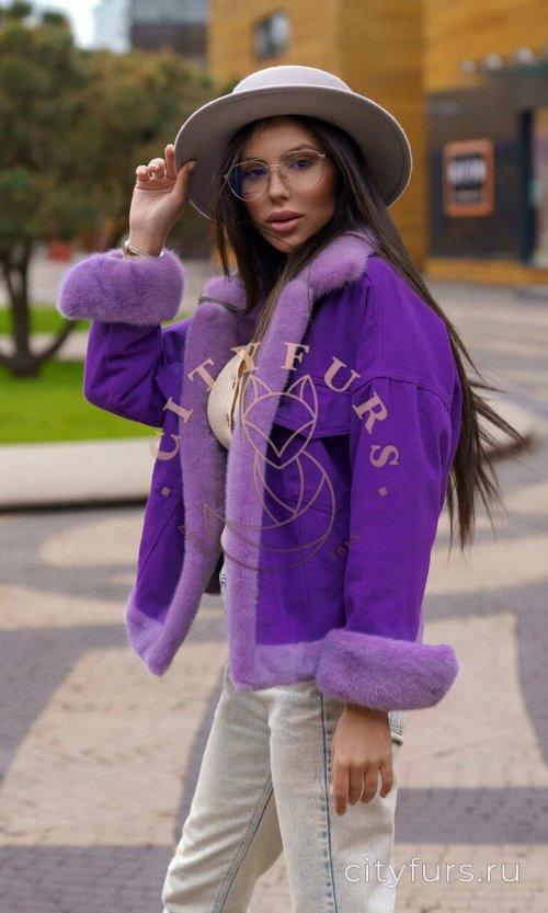 Джинсовка с мехом норки цвет фиолетовый