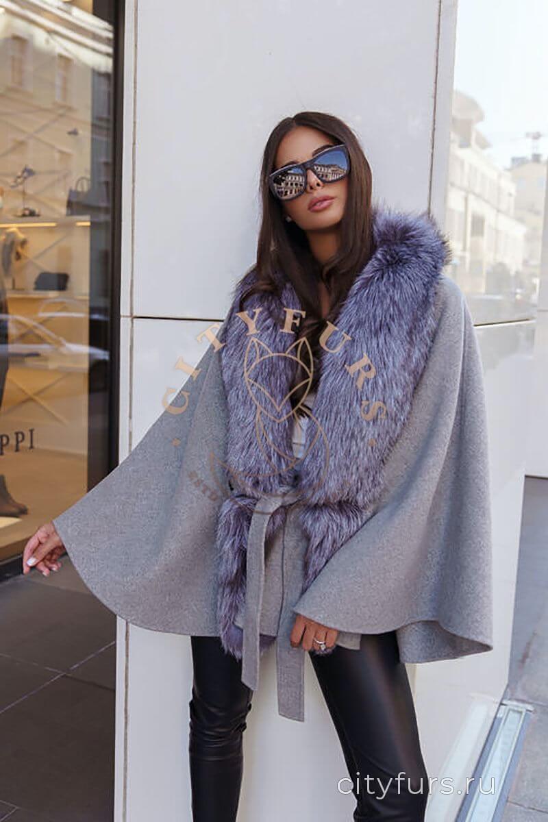 Пальто с мехом чернобуркицвет серый
