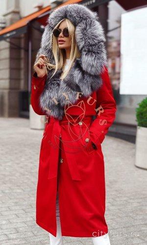 Парка-тренч с мехом чернобурки цвет красный
