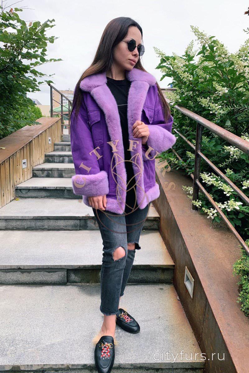 Джинсовка с норкой цвет фиолетовый