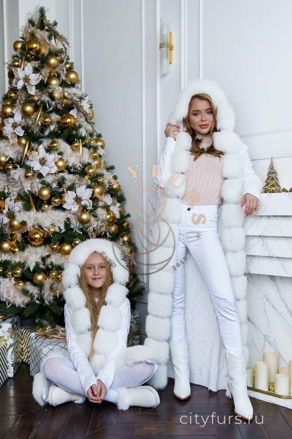 Кардиган с капюшоном Family look (комплект) белый