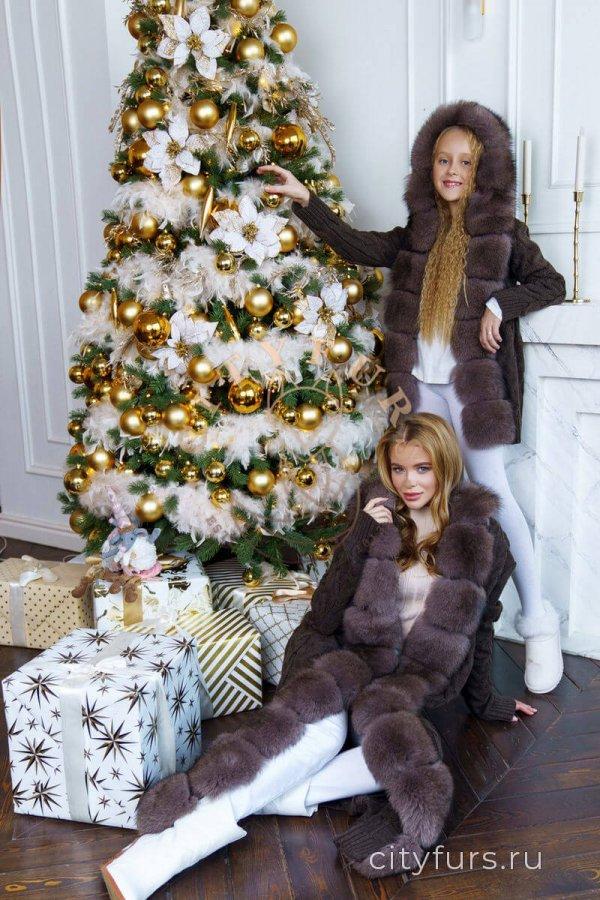 Кардиган с капюшоном Family look (комплект) коричневый