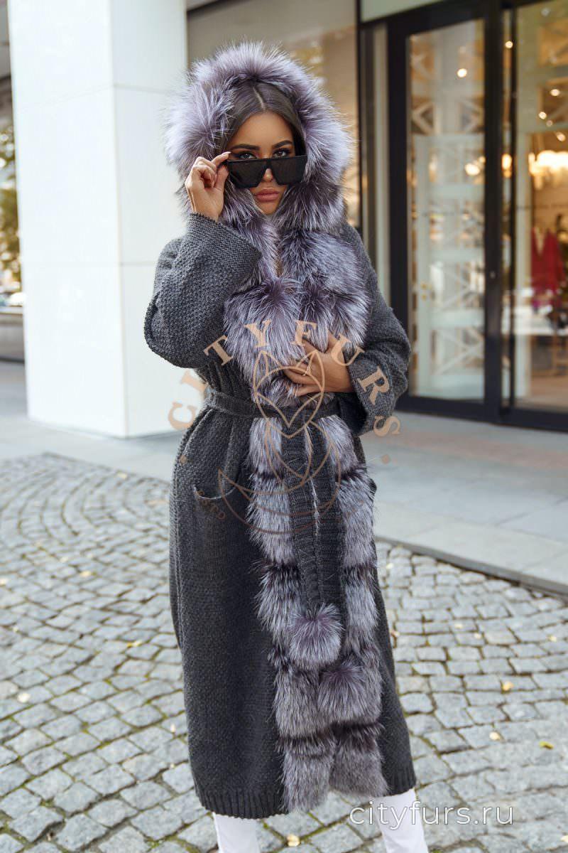 Кардиган с мехом чернобурки цвет серый