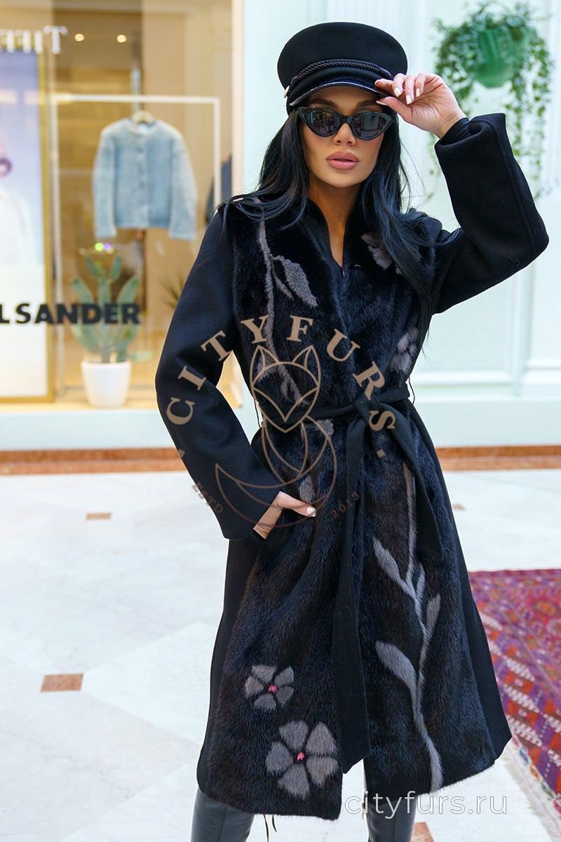 Кашемировое пальто с инкрустацией цвет черный