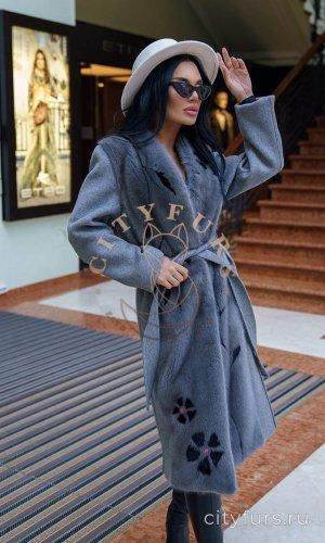 Кашемировое пальто с инкрустацией цвет серый