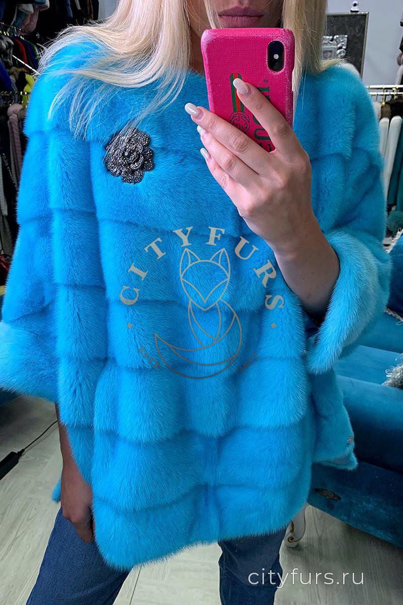 Кофта из меха Норки голубой 2