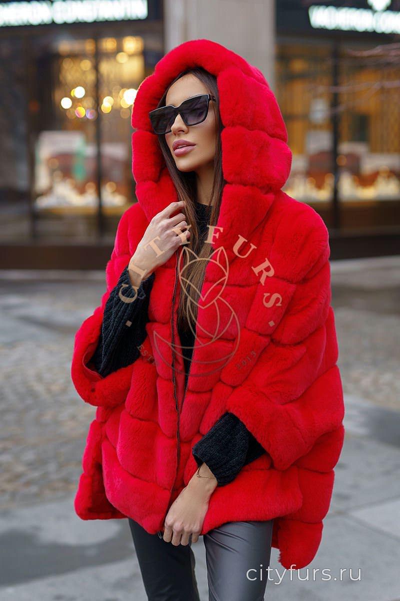 Кофта из меха кролика цвет Красный