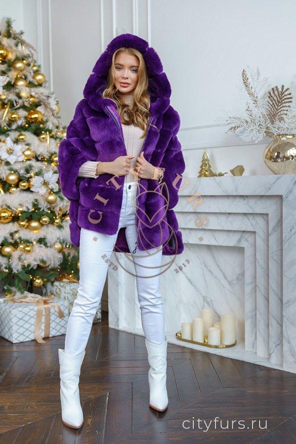 Кофта из меха кролика цвет фиолетовый