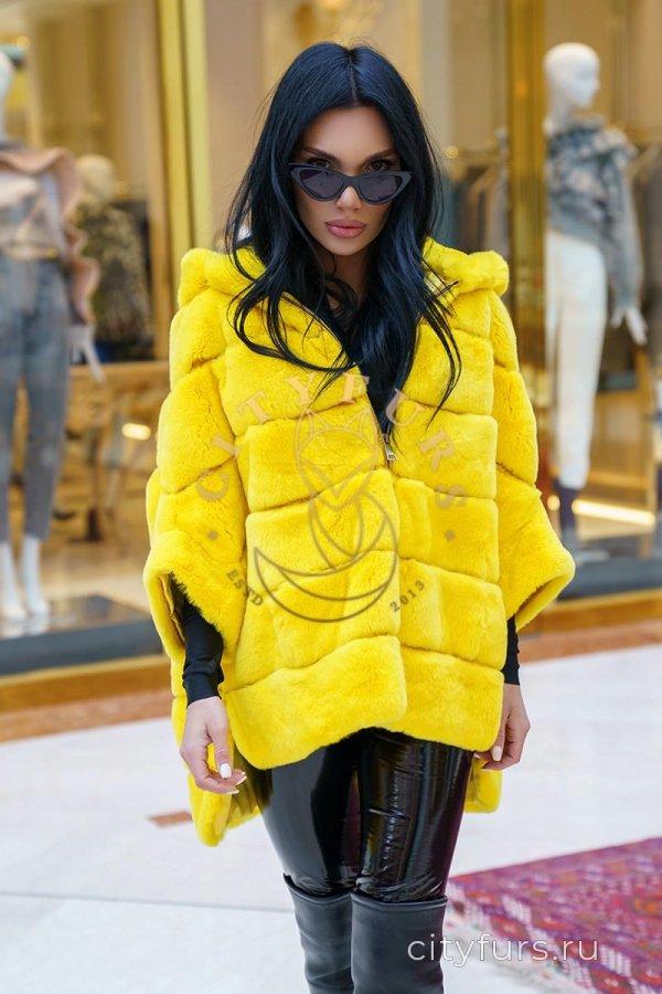 Кофта из меха кролика цвет желтый