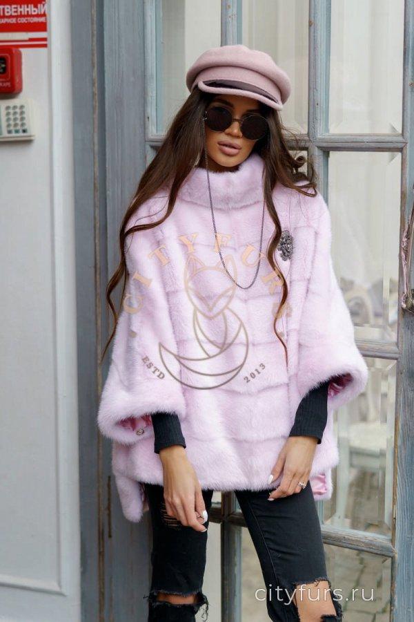 Кофта из меха норки цвет нежно-розовый 1
