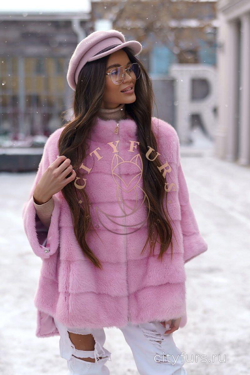 Кофта из меха норки цвет нежно-розовый