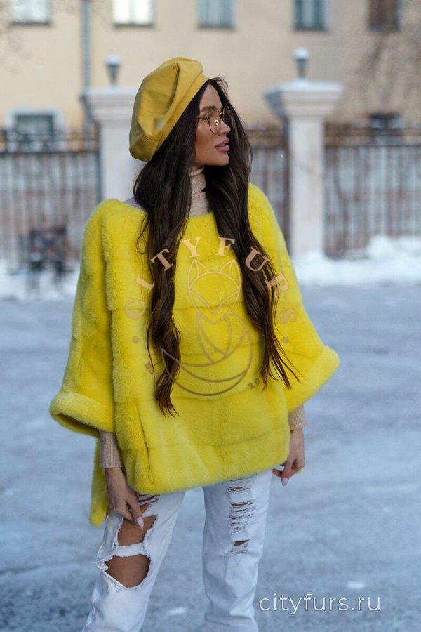 Кофта из меха норки цвет желтый