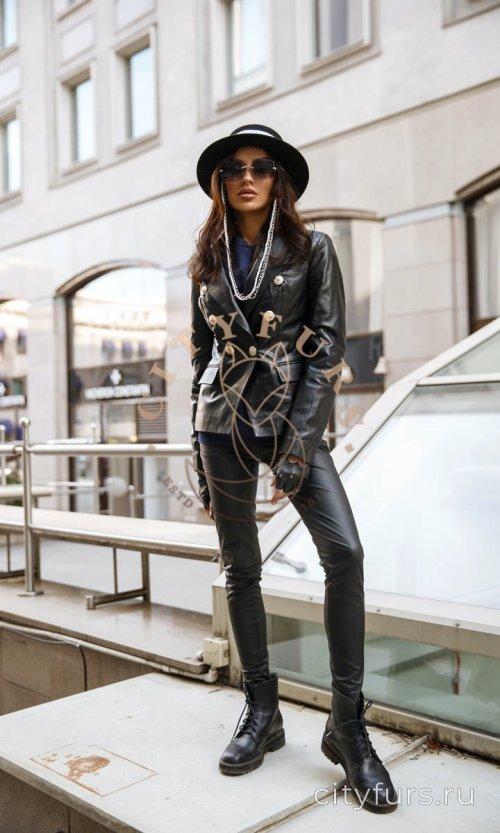 Кожаная куртка-пиджак цвет черны