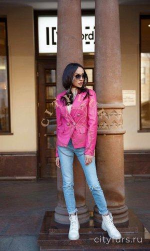 Кожаная куртка-пиджак фуксия