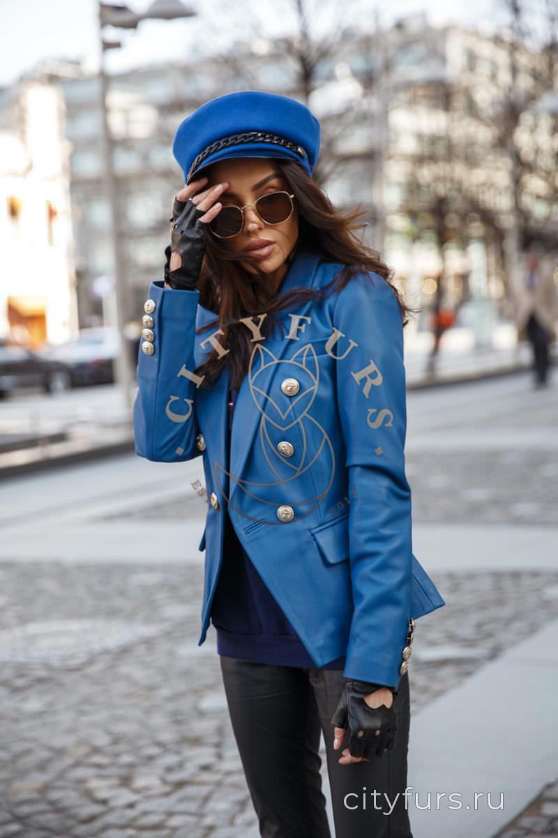 Кожаная куртка-пиджак синий