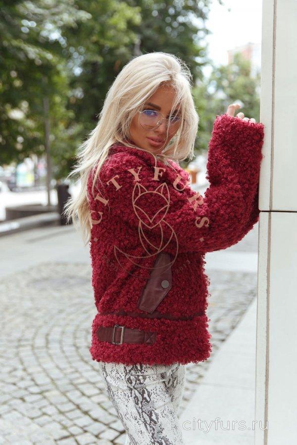 Куртка-косуха из экомеха цвет бордо