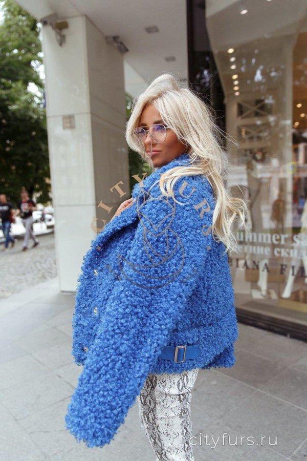 Куртка-косуха из экомеха цвет голубой