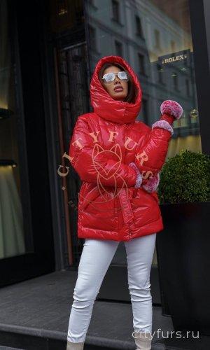 Куртка-пуховик демисезонная цвет красный