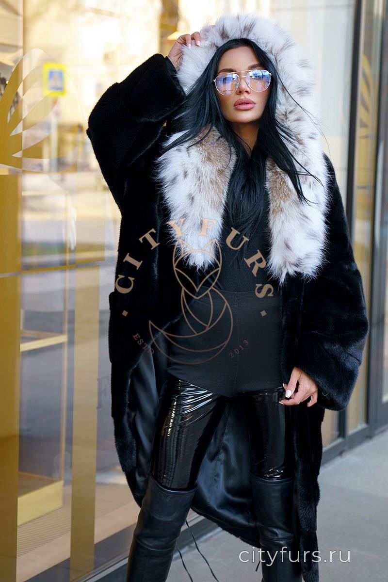 Норковая шуба с капюшоном из рыси цвет черный бриллиант
