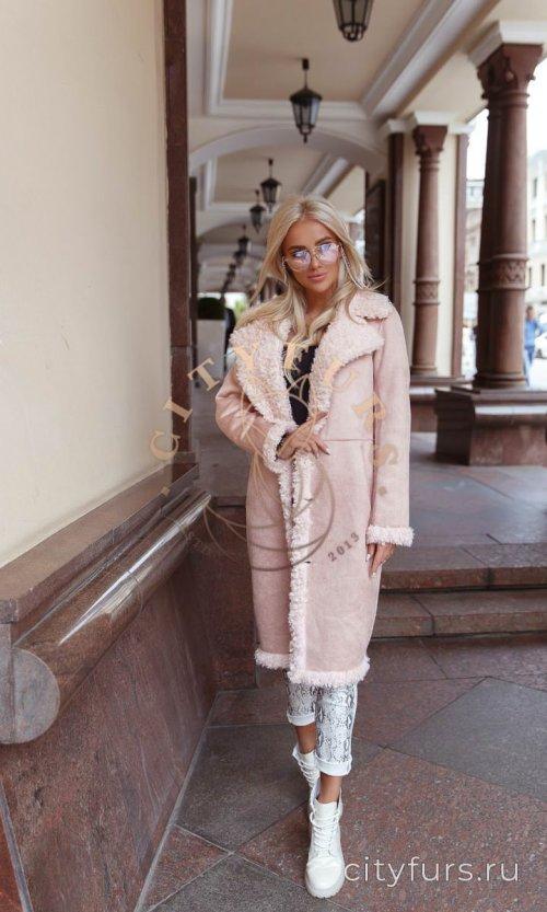 Пальто двухстороннее из экомеха цвет розовый 2