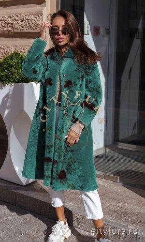 Пальто из овечьей шерсти цвет изумруд