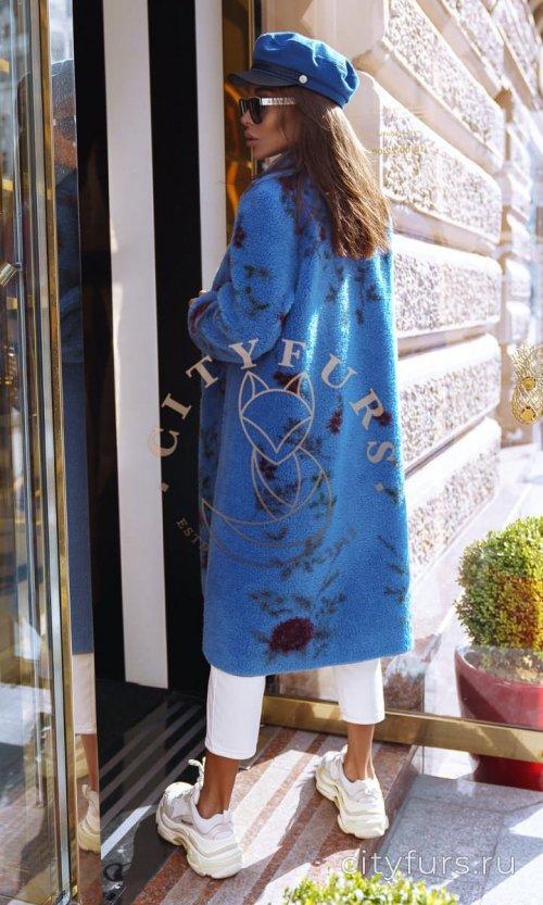 Пальто из овечьей шерсти цвет синий