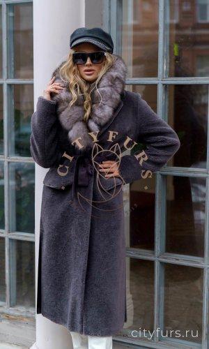 Пальто из овечьей шерсти цвет уголь