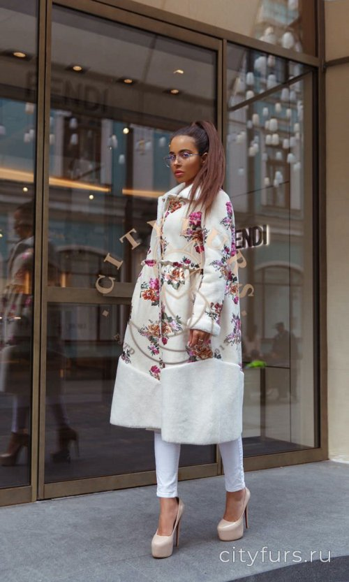 Пальто из овечьей шерсти с цветами,двусто 1