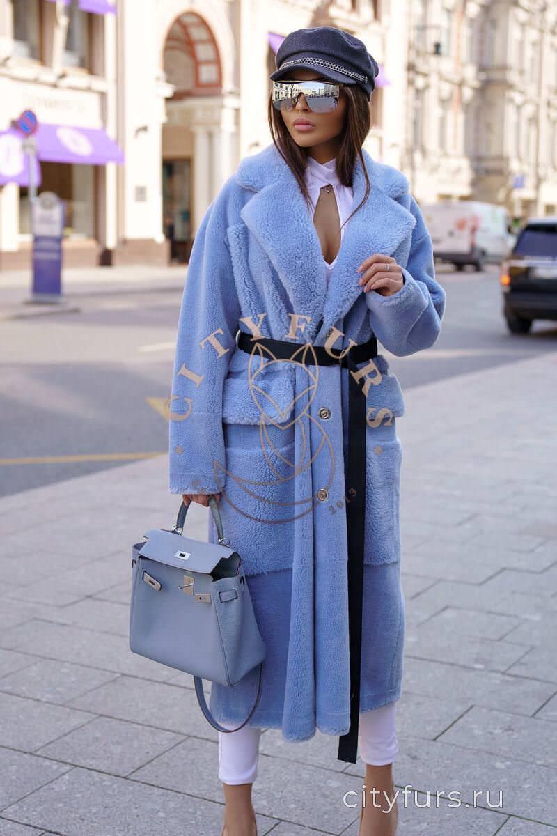 Пальто из овечьей шерсти с карманами голубой