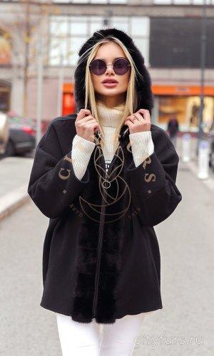 Пальто кашемировое с мехом норки цвет черный