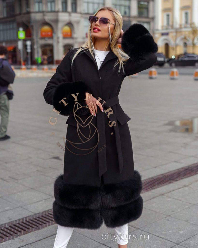 Пальто кашемировое с мехом песца цвет черный
