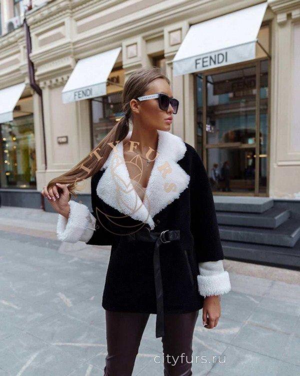 Пальто-пиджак из овечьей шерсти цвет черно-белый