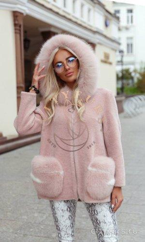 Пальто с капюшоном цвет розовый 2