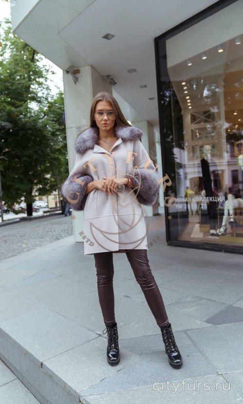 Пальто с мехом блюфрост цвет серый