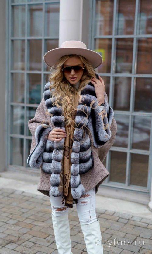 Пальто с мехом кролика цвет бежевый