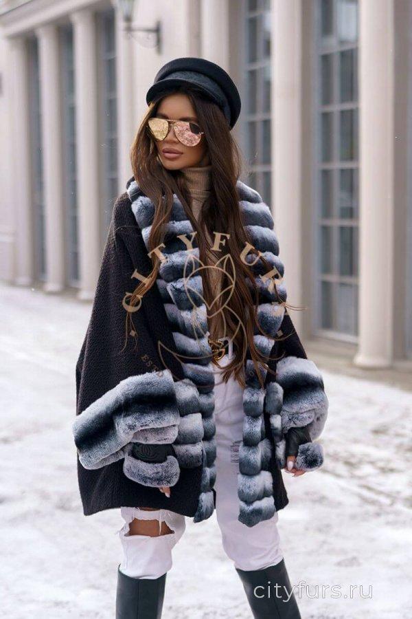 Пальто с мехом кролика цвет черный