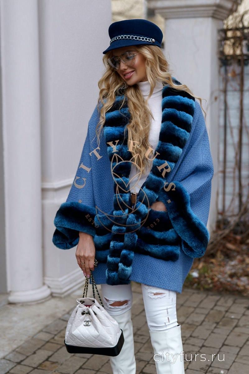 Пальто с мехом кролика цвет голубой