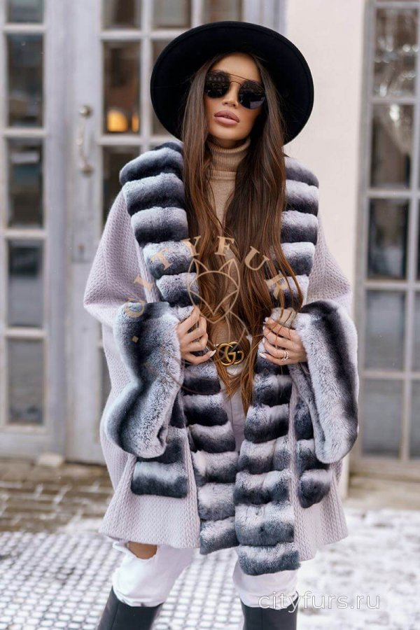 Пальто с мехом кролика цвет серый