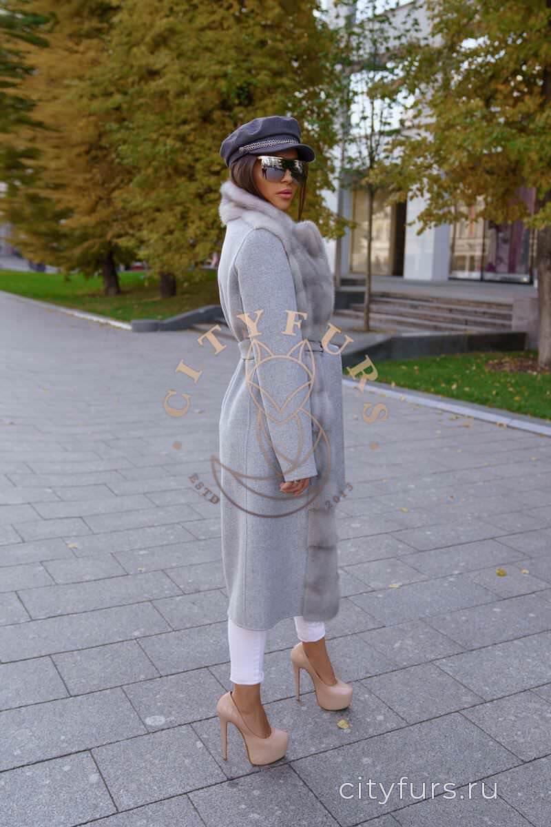 Пальто с мехом норки цвет серый 2