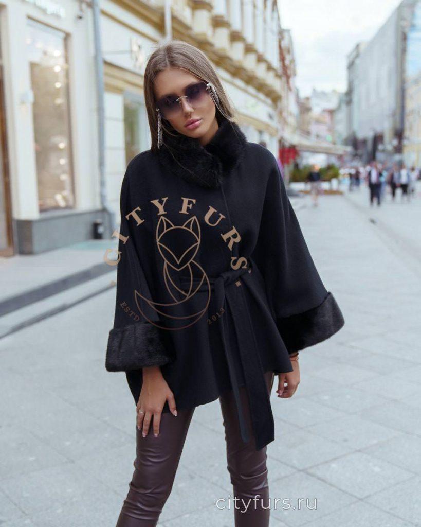Пальто с норкой цвет черный