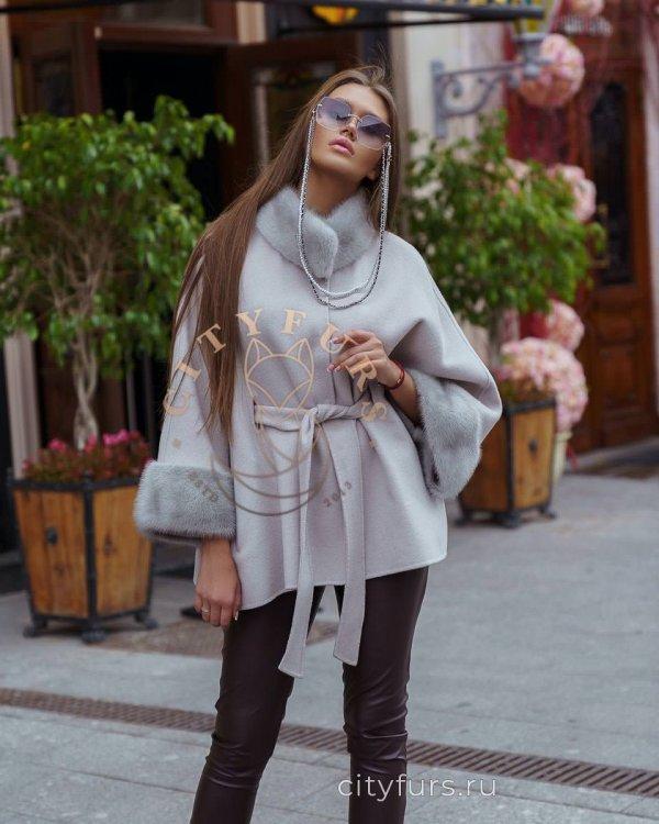 Пальто с норкой цвет серый