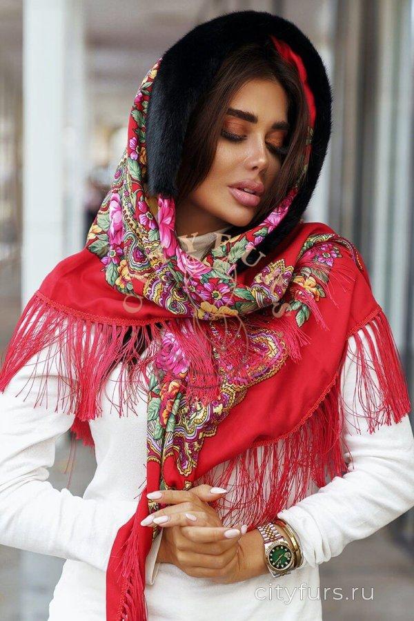 Платок с мехом норки - цвет красный