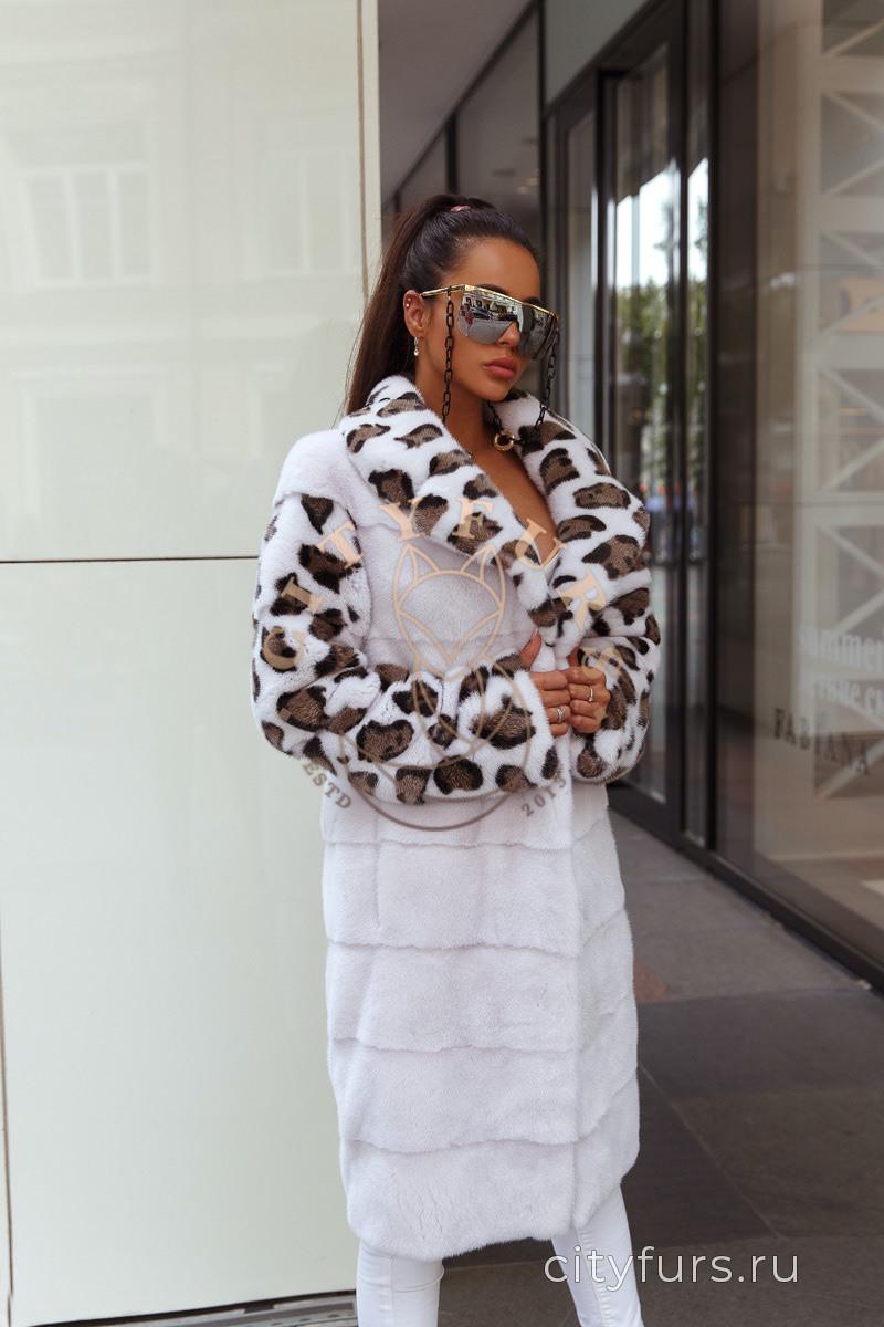 Шуба норковая с леопардовым принтом