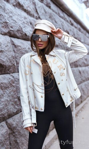Куртка из кожи цвет белый