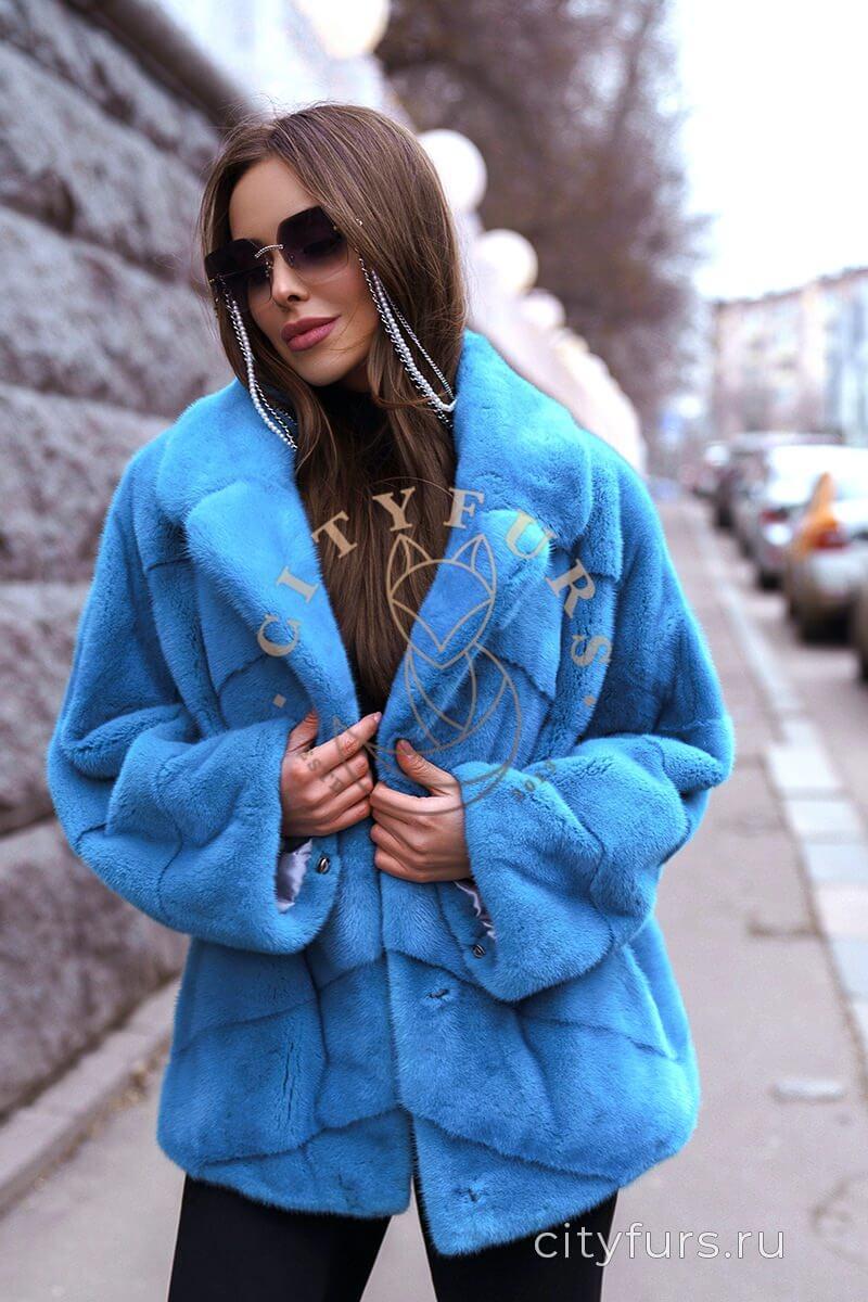 Норковый полушубок цвет голубой