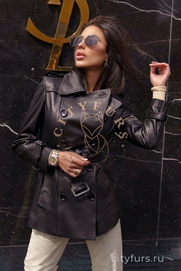 Кожаный тренч цвет черный - 70 см