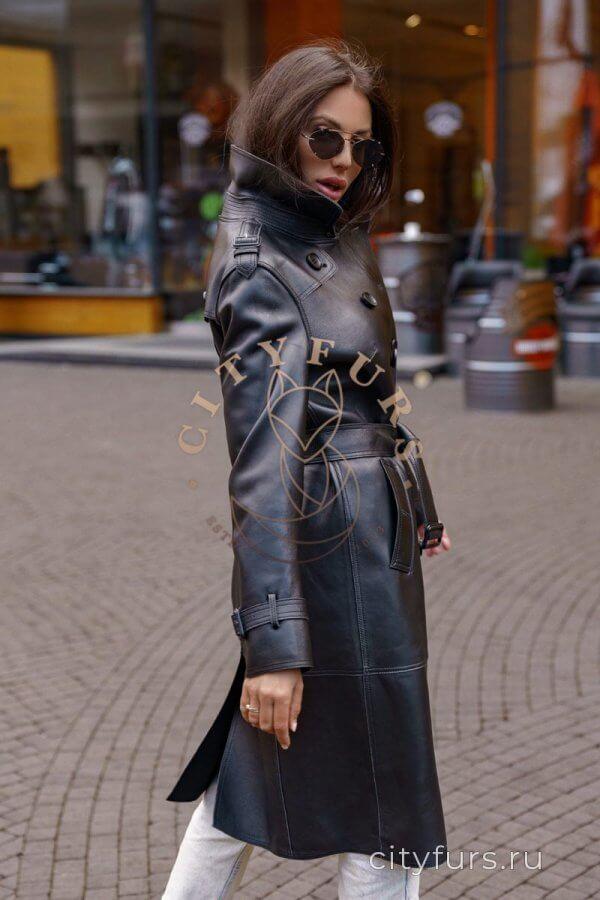 Кожаный тренч из плотной кожи цвет черный - 100 см