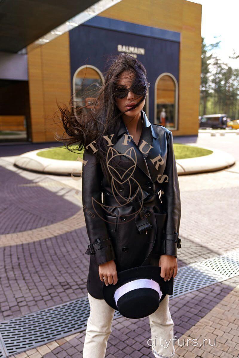 Кожаный тренч из плотной кожи цвет черный - 90 см