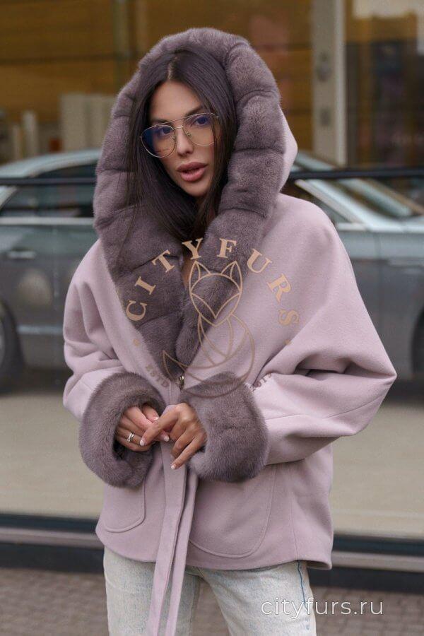 Пальто с мехом норки цвет нюд