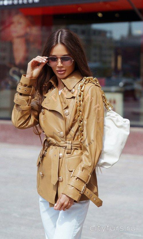 Кожаный тренч с золотыми пуговицами цвет коричневый